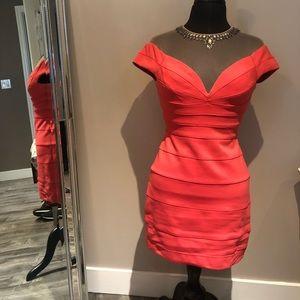 BCBG Piper Tulle Yoke Short Dress Coral